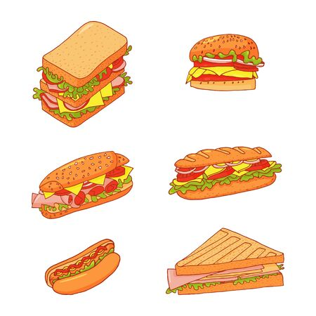 Set of 6 sandwiches. Collection of vector fast food pictures illustrations on a white background. Vector Illustration