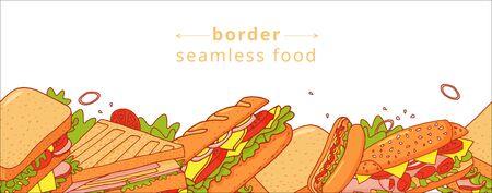 Modèle sans couture coloré de dessin animé de sandwichs appétissants. Joli motif de restauration rapide pour papier d'emballage textile, café et restaurant, couvertures, bannières, arrière-plan, papier peint.