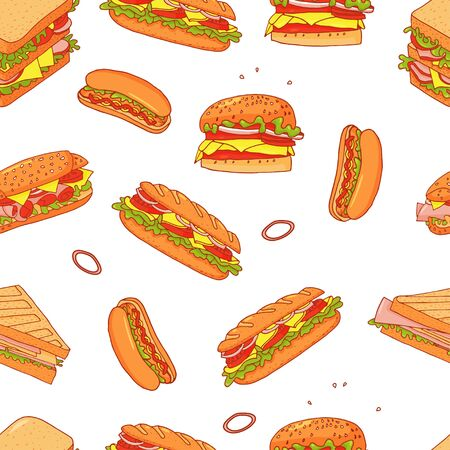 Sandwich cartoon seamless pattern background. Isolated fast food on a white background