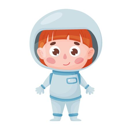 Cute astronaut girl in cartoon style. Vector isolated on a white background. Sticker, poster, children s illustration, character, design 矢量图像