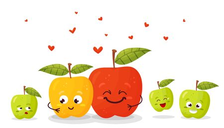 Happy parents with children cartoon. Fruit family. Happy Valentine s day. Vector