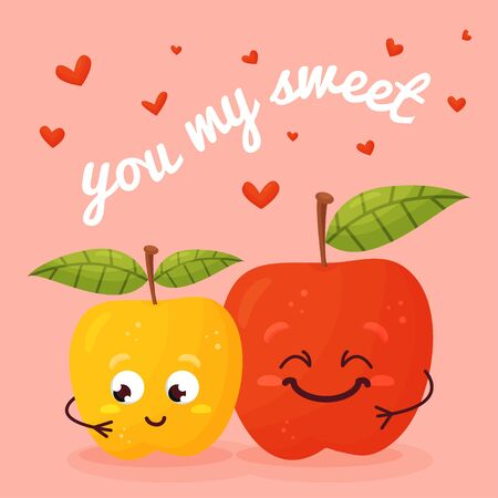 Happy couple of apples cartoon. Happy Valentine s day. You my sweet. Vector