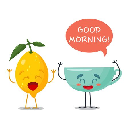 Morning Cup with lemon say in the bubble Good morning . Fun fruits with a happy greeting. Postcard in a cute cartoon style.