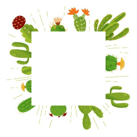 Square vector composition of house plants with a place to write a text message. Cute cactus in a cartoon style. Ilustrace