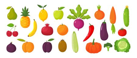 Vector set of juicy fruits and vegetables in cartoon style . Healthy lifestyle, vegetarianism Vetores