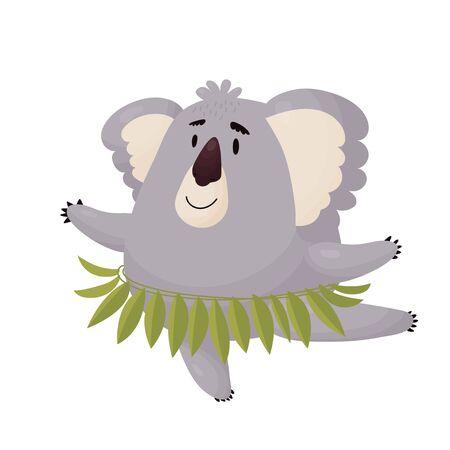 Cute Koala dancing on one paw dance ballet. Vector cute animal in cartoon style .