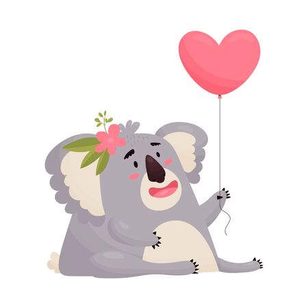 Cute holiday Koala in love with a balloon in the shape of a heart. Vector cute animal in cartoon style .