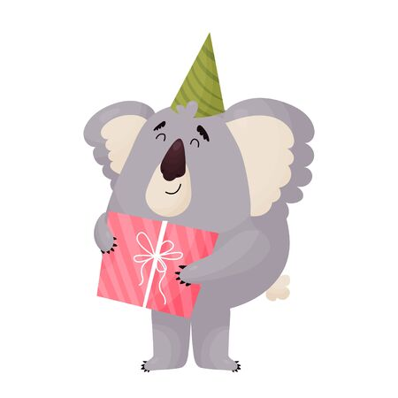 Cute cheerful Koala in a festive cap holds a gift. Çizim