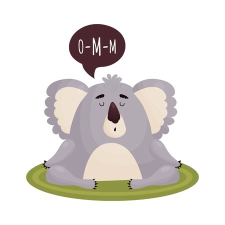 Cute Koala in a state of Nirvana meditates on the carpet. Vector cute animal in cartoon style .