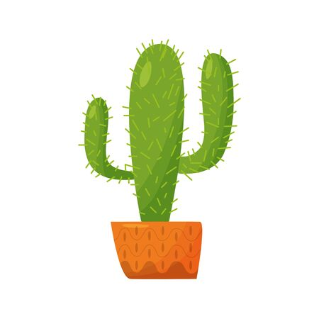 Tall Mexican cactus in a pot. Indoor plant on a white background. Vector 向量圖像