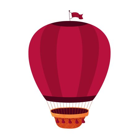 Vector flying machine on a white background. Burgundy insulated air balloon with basket