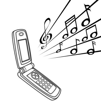 illustration   of  handset  with  some  note    Stock Photo