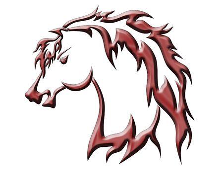illustration  of  red horse  on  white  background