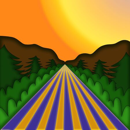 illustration   of  landscape  with road  and  spruces