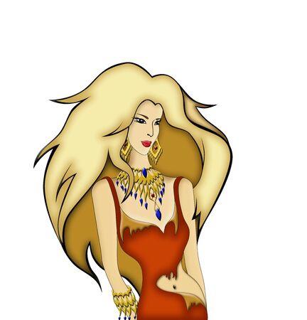 illustration   of girl  with beautiful  splendid  hair