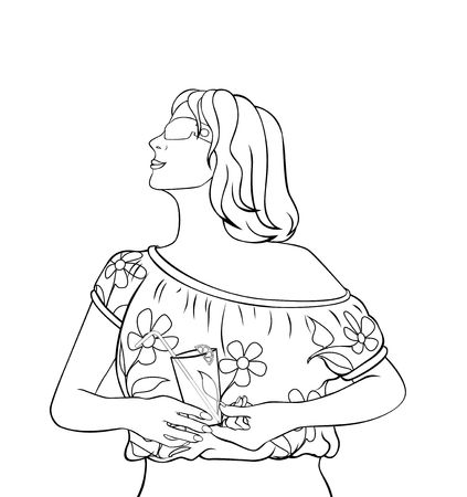 illustration of girl in a blouse  with a wineglass           glass   Stock Photo