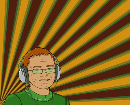 illustration of man with headphones