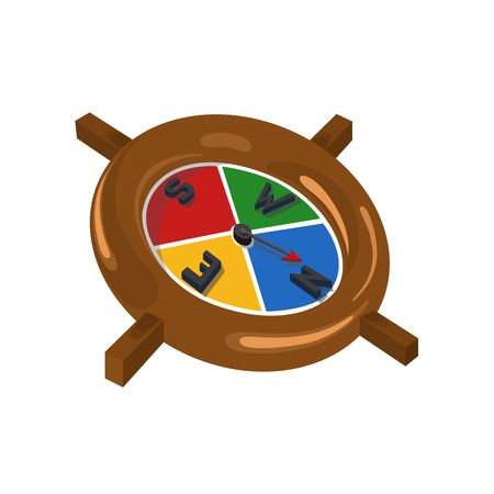 wooden  compass  with  color   parts   Stock Photo