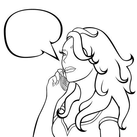 illustration   of girl    with  handset and splendid  hair