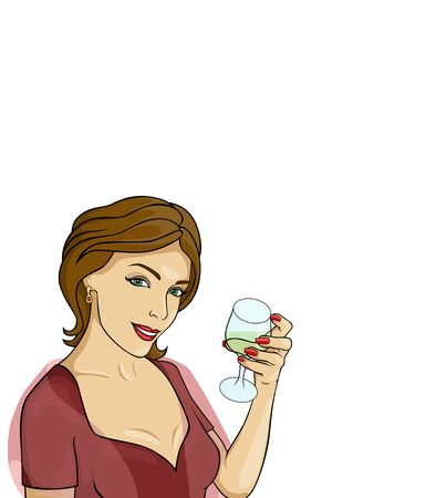 illustration of girl in a blouse  with a wineglass
