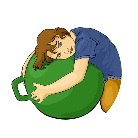 illustration of girl who embraces the sports ball