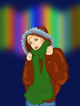 illustration of a girl in a warm winter jacket   Stock Photo