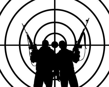the silhouettes of two men with weapons   Stock Photo