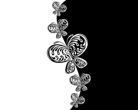 pattern  in the manner of black � white  butterfly   Stock Photo