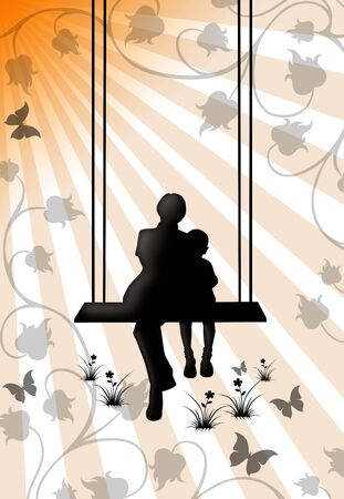 illustration of a woman with a child on a swing    版權商用圖片