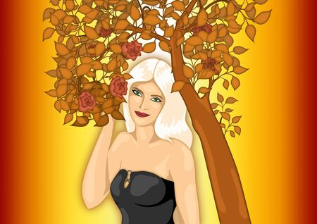 illustration of  girl standing under flowering tree   Stock Photo