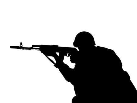 the silhouette of  one men with weapons