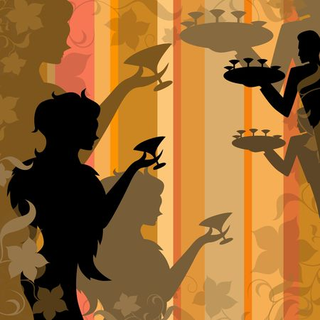 illustration of   silhouette of a young girl with stemware  illustration