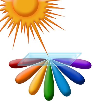 illustration of  rainbow in  rays of the sun