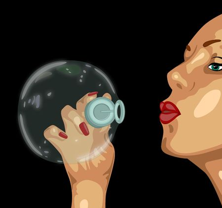 soapsuds: illustration of  girl and a big bubble
