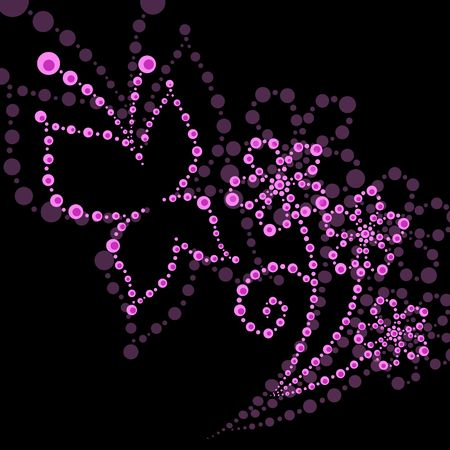 illustration of  butterfly and flower made up of points    Stock Photo