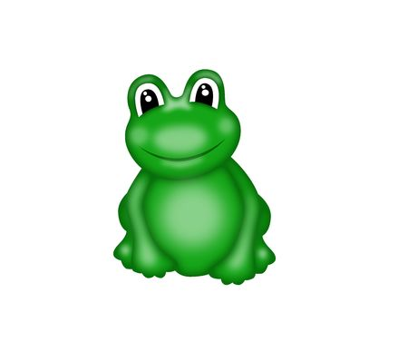 illustration of  green smiling frog with big eyes