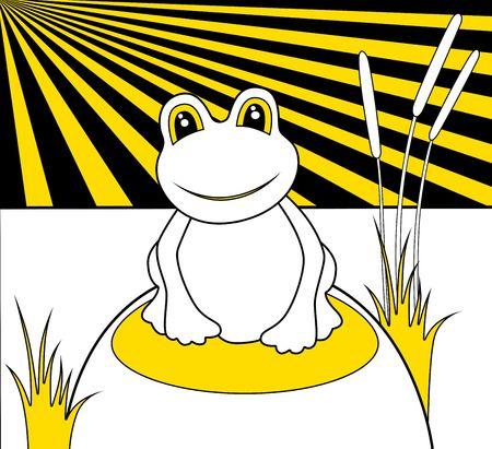 smiling frog: Ilustraci�n de una rana sonriente verde con grandes ojos
