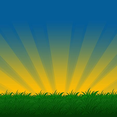 illustration of  meadow with bright green grass   Stock Photo