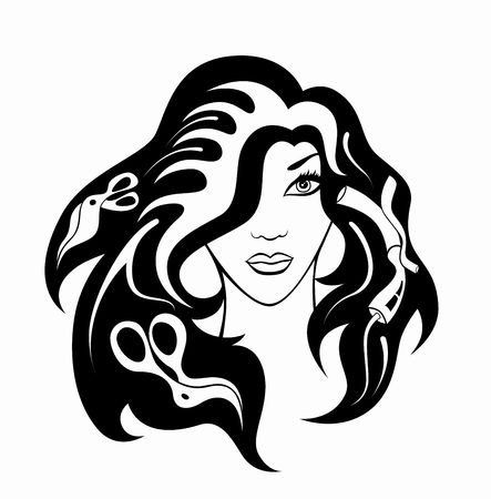 hair stylist: illustration of  girl  with hairdressing accessories in her hair