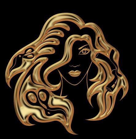 peigne: illustration de la jeune fille avec des accessoires de coiffure dans ses cheveux