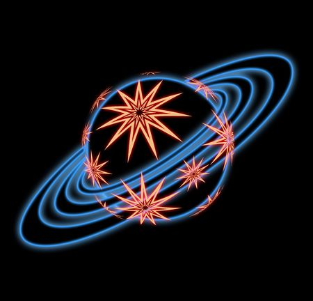 pattern  in the manner of planet  with  rings