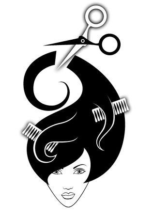 peine: Ilustraci�n de la chica  Foto de archivo