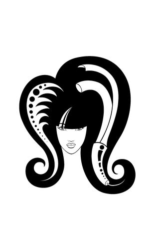 closely cropped: illustration of  girl  with hairdressing accessories