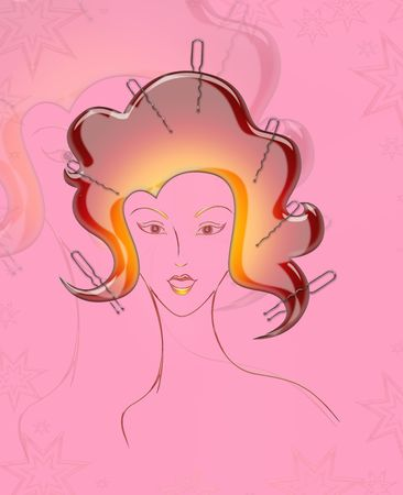 illustration of  girl  with hairdressing accessories  illustration