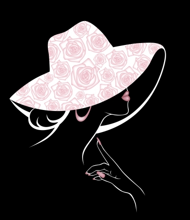 closely cropped: illustration of a girl in a big hat
