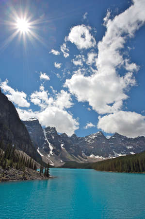 Moraine Lake with clouds and sun