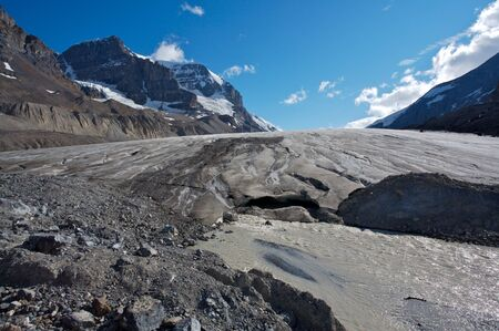 andromeda: Athabasca glacier with melt water, Mount Andromeda Stock Photo
