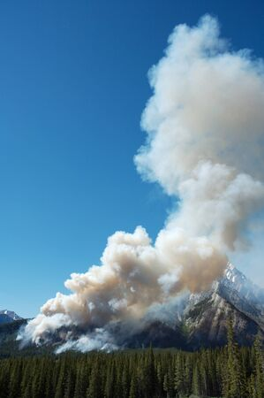Large forest fire burning in the Rocky Mountains