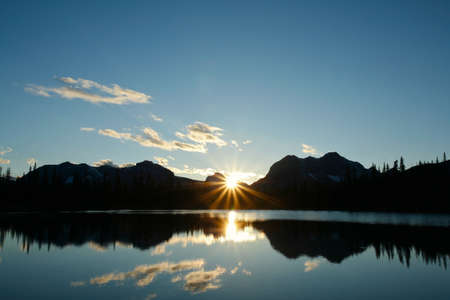 Sunset over Buller Lake in the Rocky Mountains of Canada