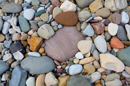 Colorful smooth river rocks
